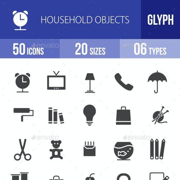 Household Objects Glyph Icons