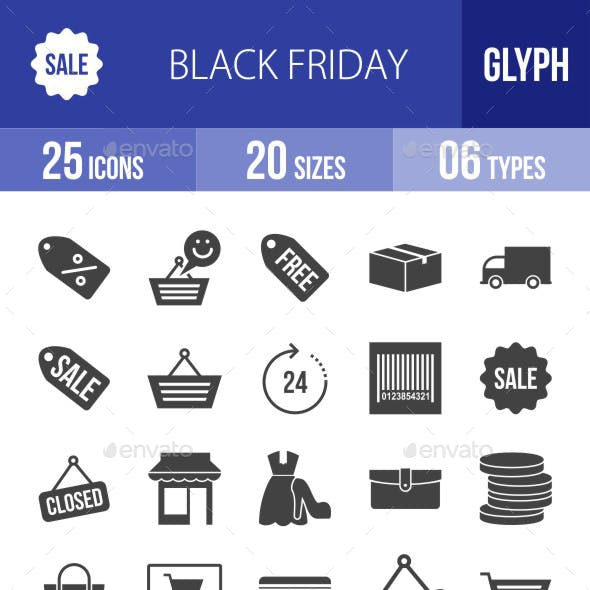 Black Friday Glyph Icons