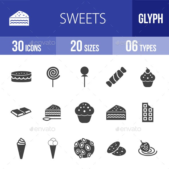 Sweets Glyph Icons