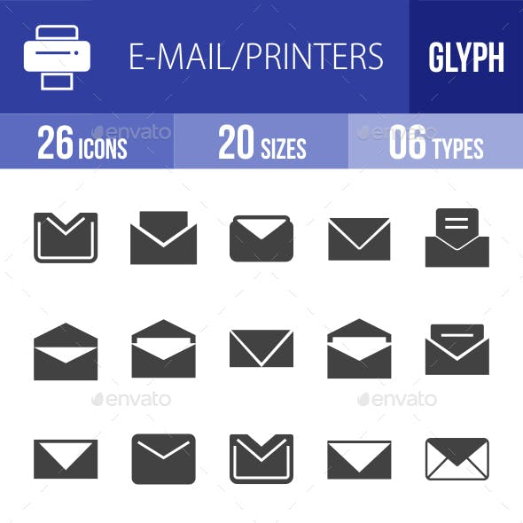 Email & Printer - Technology Glyph Icons