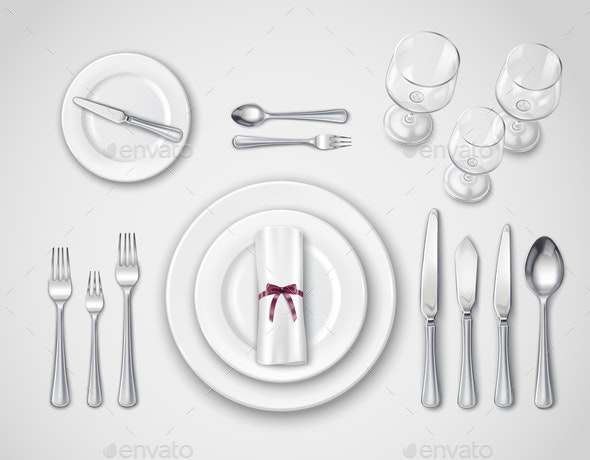 Table Setting Realistic Top View - Food Objects