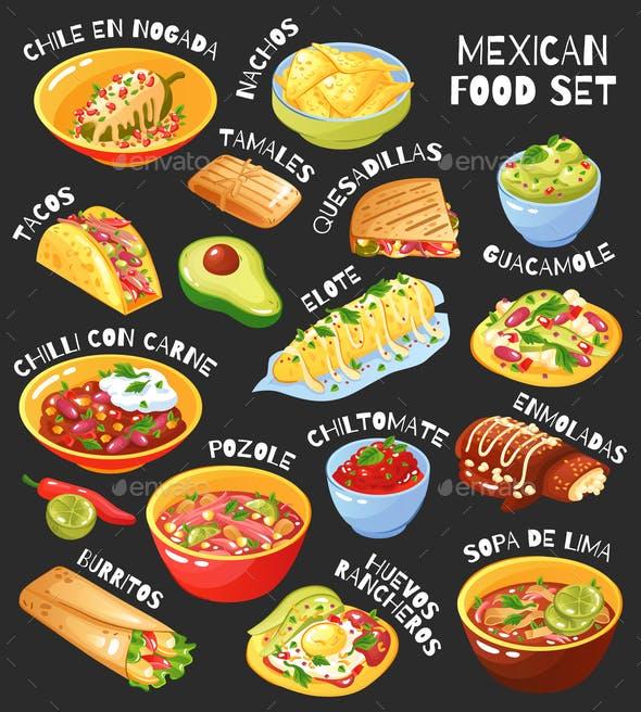 Mexican Food Set Chalkboard