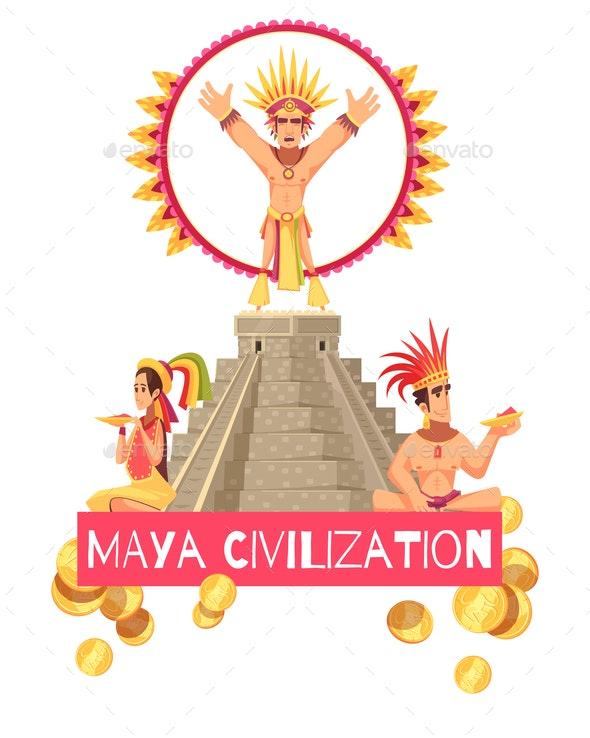 Maya Civilization Illustration - Buildings Objects