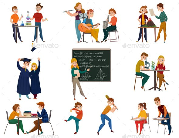 School Students Cartoon Set