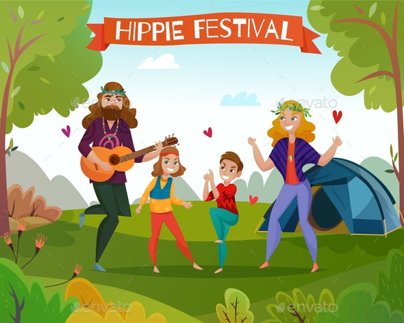 Hippie Festival Cartoon Illustration - People Characters