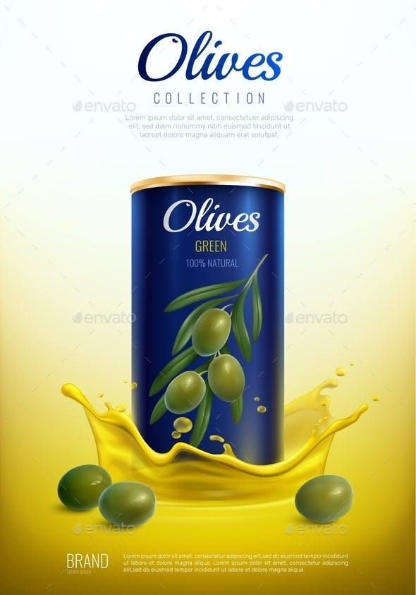 Realistic Canned Olives Advertising Composition