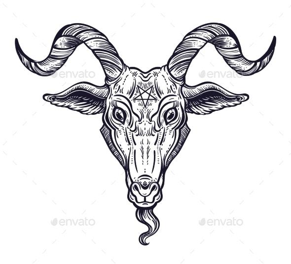 Pentagram in the Head of Demon Baphomet - Miscellaneous Vectors