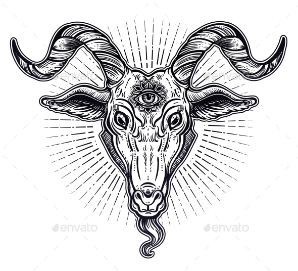 Demon Goat Baphomet with Sacred Occult Eye - Miscellaneous Vectors