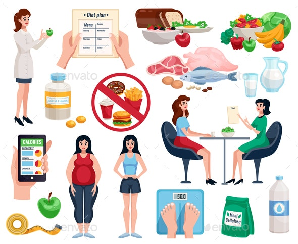 Diet Decorative Icons Set - Food Objects