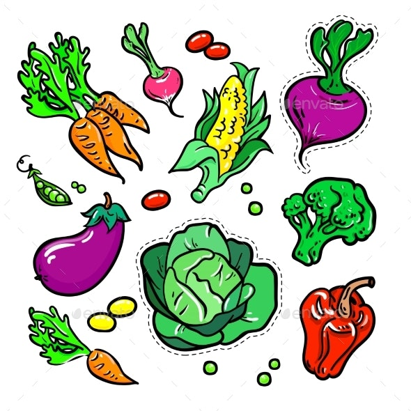Vegetables Vector Isolated Retro Stickers Set - Food Objects