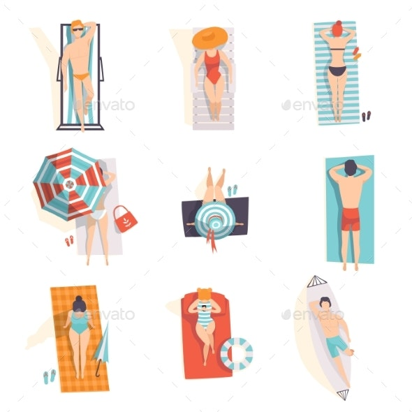 Young People Sunbathing on the Beach Set, Top View - Seasons/Holidays Conceptual