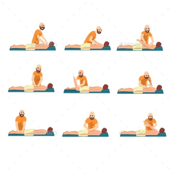 Male Therapist Doing Back Massage Set