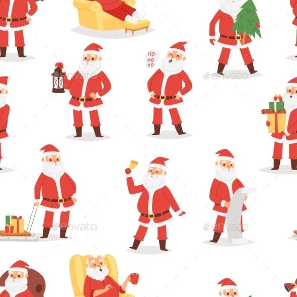 Christmas Santa Claus Vector Character Poses - Seasons/Holidays Conceptual