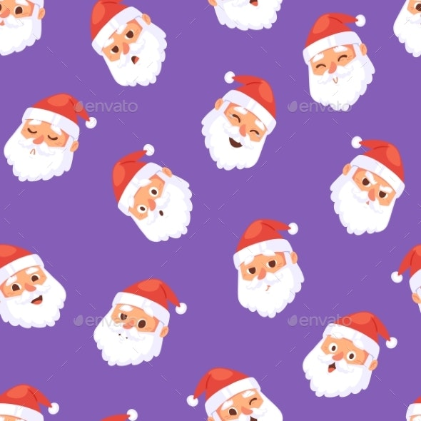 Christmas Santa Claus Head Emotion Faces Vector - Backgrounds Decorative