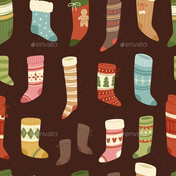 Christmas Socks Vector Santa Xmas New Year Gift - Seasons/Holidays Conceptual