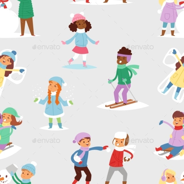 Winter Christmas Kids Playing Games Outdoor Street - People Characters