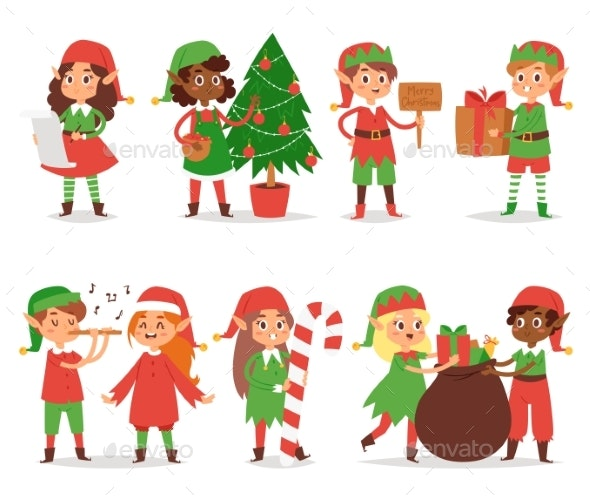 Christmas Elfs Kids Vector Children Santa Claus - Seasons/Holidays Conceptual