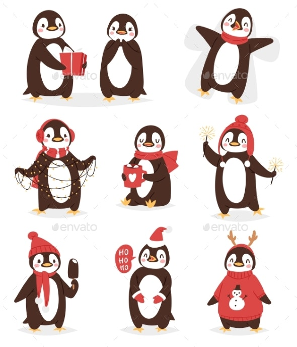 Christmas Cute Penguin Vector Character Cartoon - Animals Characters