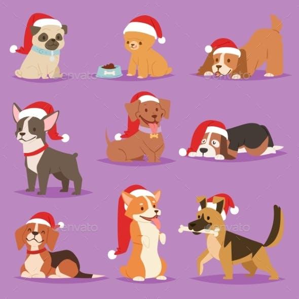 Christmas Dog Vector Cute Cartoon Puppy Characters
