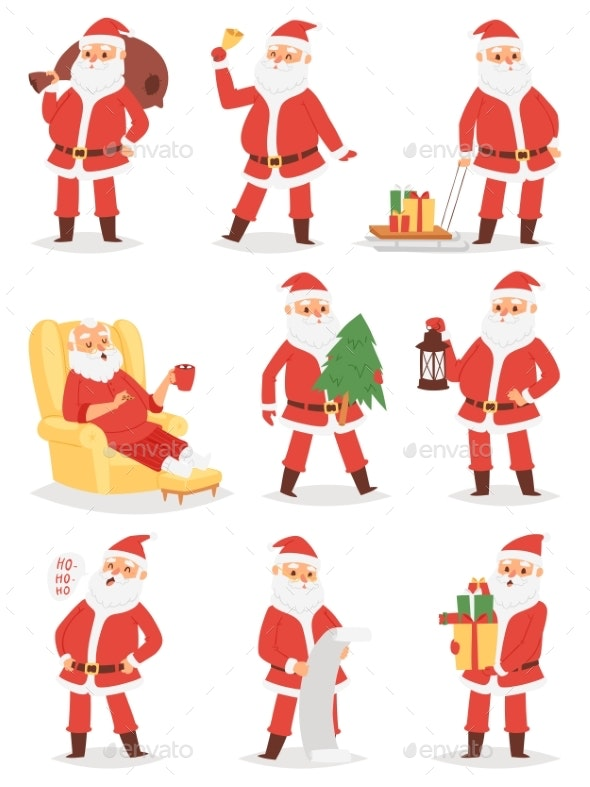 Christmas Santa Claus Vector Character Poses - People Characters