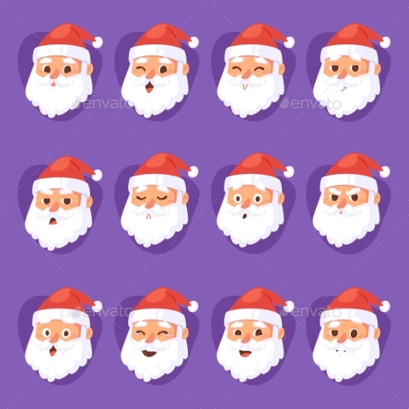 Christmas Santa Claus Head Emotion Faces Vector - People Characters