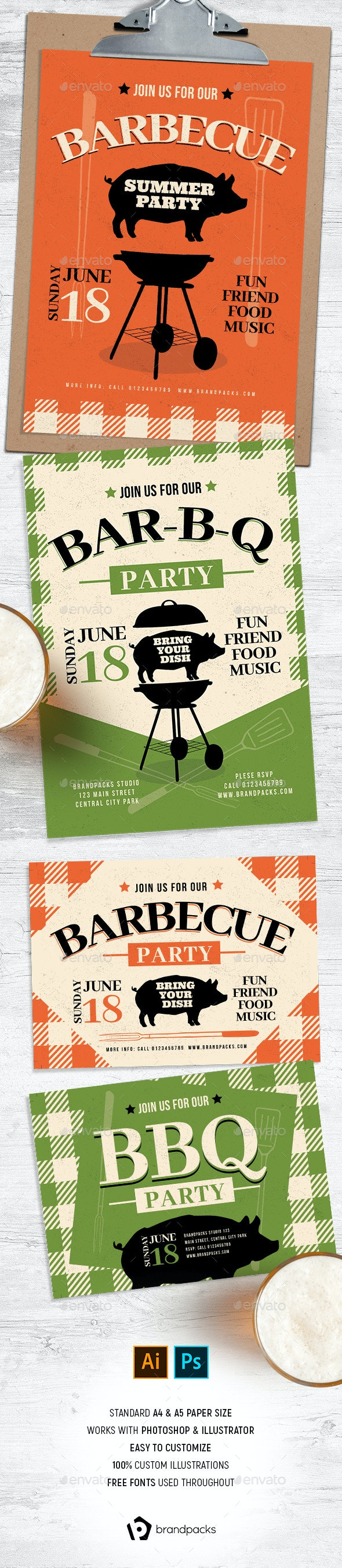 Rustic BBQ Flyer / Poster - Clubs & Parties Events