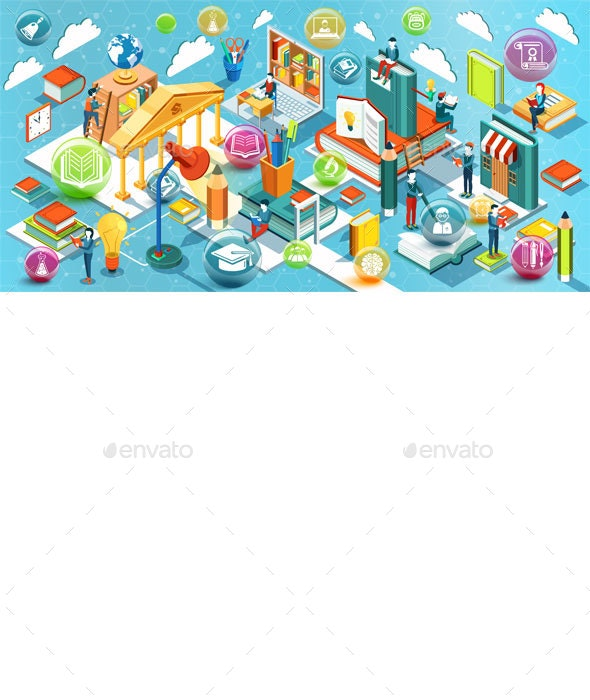 Online Education Isometric Concept - Web Technology