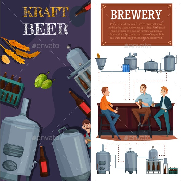 Beer Production Vertical Cartoon Banners - Industries Business