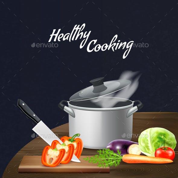 Kitchen Tools Vegetables Illustration