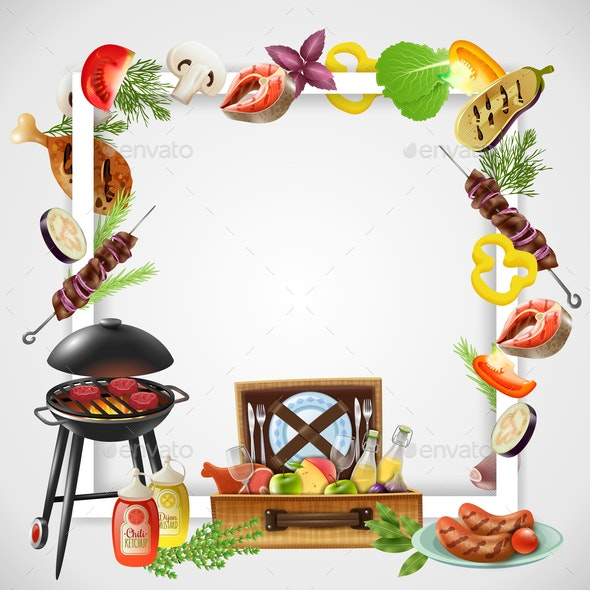 BBQ Realistic Frame - Food Objects