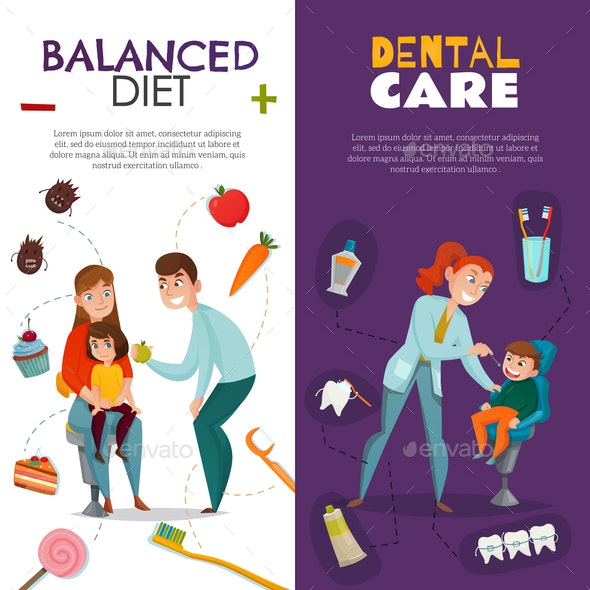 Vertical Pediatric Dentistry Vertical Banner Set - Health/Medicine Conceptual