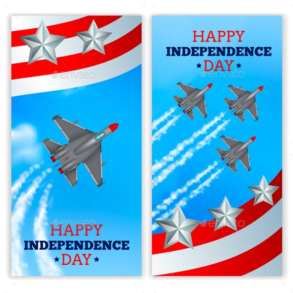 Airplanes Independence Day Banners