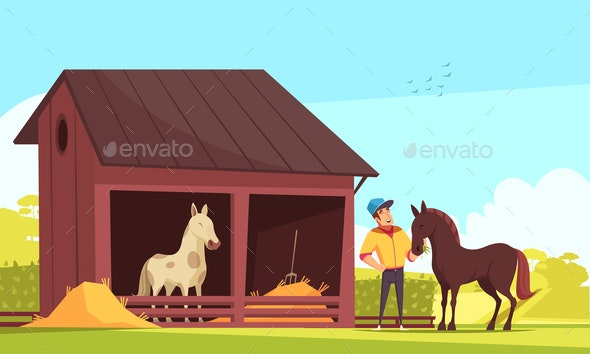 Horse Barn Equestrian Composition - Sports/Activity Conceptual