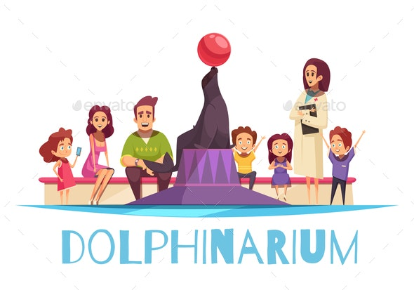 Family Dolphinarium Flat Background - Animals Characters