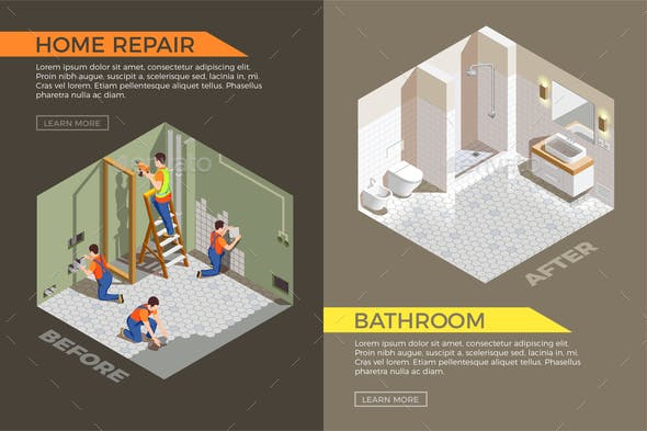 Builders Repair Isometric Composition