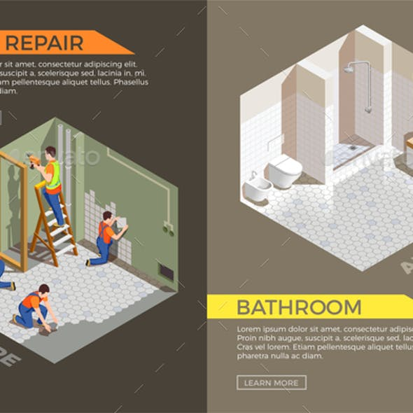 Builders Repair Isometric Composition