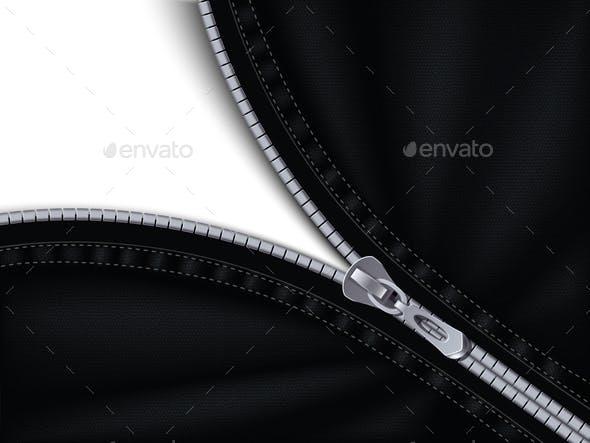 Grey Plastic Zipper Realistic Background