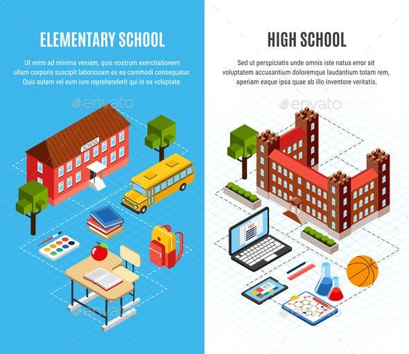 Education Isometric Banners Set