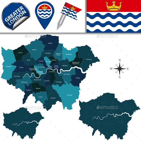 Map of Greater London, UK - Travel Conceptual