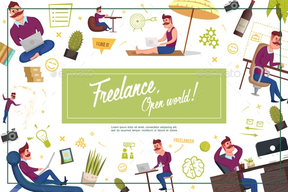 Flat Freelance Composition - People Characters