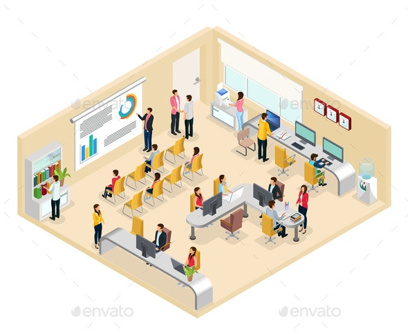 Isometric Coworking Office Concept - Business Conceptual