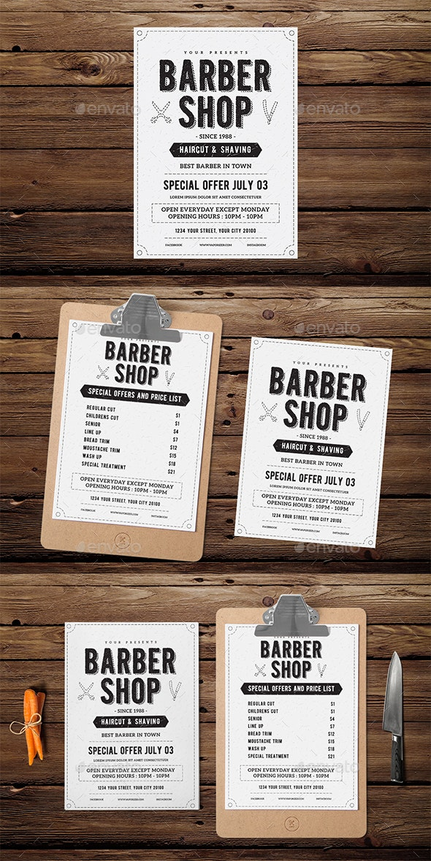 Vintage Barber Shop Flyer Menu - Events Flyers