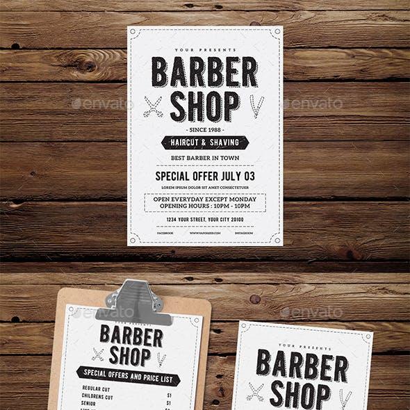 Vintage Barber Shop Flyer Menu