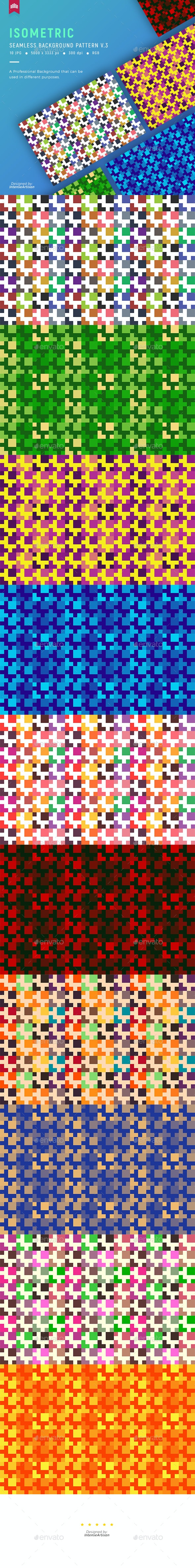 Isometric Seamless Pattern Background V.3 - Patterns Backgrounds