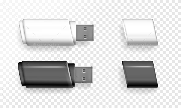 USB Flash Drive Vector Illustration - Man-made Objects Objects