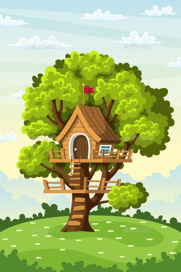 Treehouse on a Meadow - Landscapes Nature