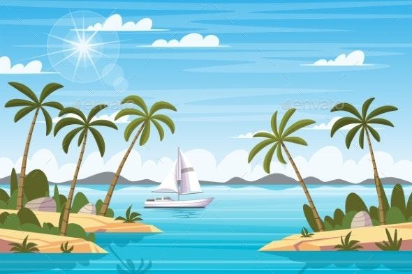 Tropical Landscape with Boat - Landscapes Nature