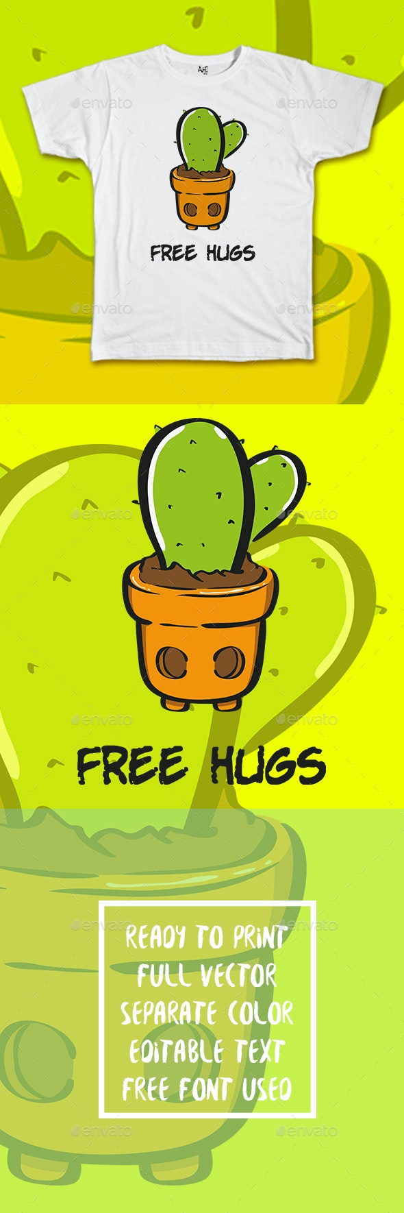 Cactus Free Hugs T-shirt Design - Funny Designs