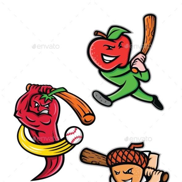 Fruit Baseball Sports Mascot Collection