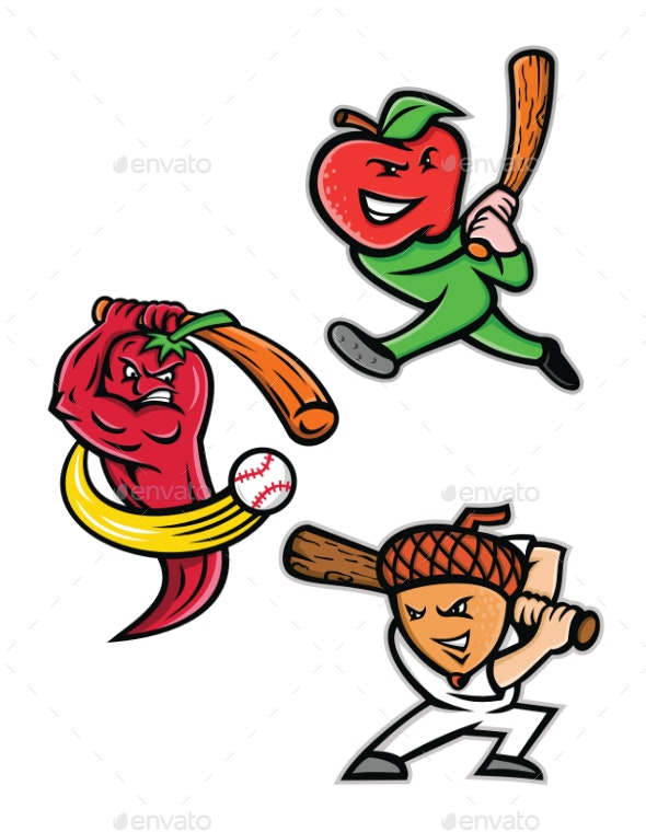 Fruit Baseball Sports Mascot Collection - Sports/Activity Conceptual
